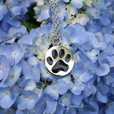 Pet Cremation Jewelry Pendant Urn Ashes NECKLACE Paw Print Dog Cat Memorial Gift