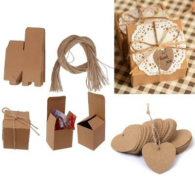 100pcs Kraft Paper Blank Gift Tags+50pcs Candy Gift Box Wedding Party Favor