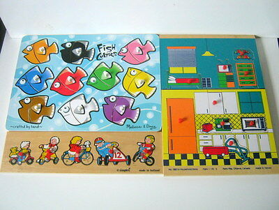 Household Items, Bicycle, Fish Colors Wood Peg Puzzles