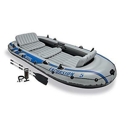 Intex Excursion Large 5 Seater Person Dinghy Boat Set Aluminium Oars & Pump Grey