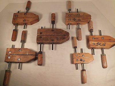 """Lot of 6 Wood Clamps Cummins Jorgeson 4"""" 6"""" 7"""""""