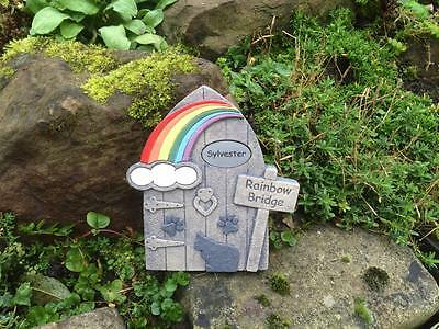 Personalised Pet Memorial Cat and Paws Rainbow Bridge Door for Garden