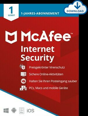 McAfee Internet Security 2016 1 PC / 1 Jahr - (AntiVirus) Deutsch Windows  / KEY