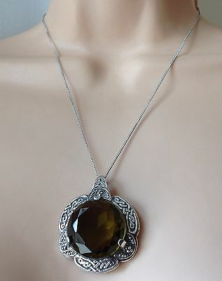 "Vintage Large Scottish Signed ,,miracle "" Pendant With 925 Sterling Silver Chain"
