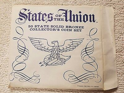States of the Union 1969 50 Solid Bronze Collector Coin Set Shell Oil COMPLETE!