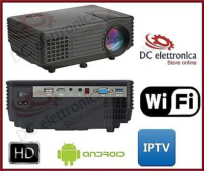 Proiettore Led Wifi Android Iptv Videoproiettore3D 1080P Hd Hdmi Usb Home Cinema
