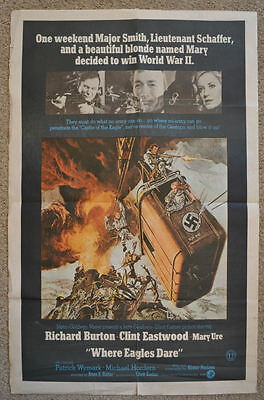 Where Eagles Dare Clint Eastwood Richard Burton 1968 Scarce Rare 1-Sheet Poster
