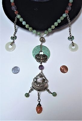 Old Chinese jade/amethyst/agate beads & Bi silver pendant necklace