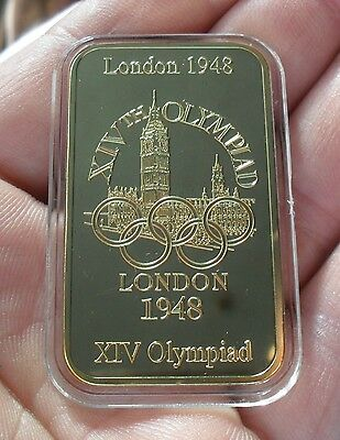 LONDON 1948  X1V OLYMPIAD LIMITED EDITION 25g COMMEMORATIVE INGOT 24K LAYERED