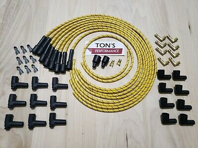 7mm universal cloth covered spark plug wire kit set vintage wires v6 v8 hot rod  replacement cloth covered vintage wire