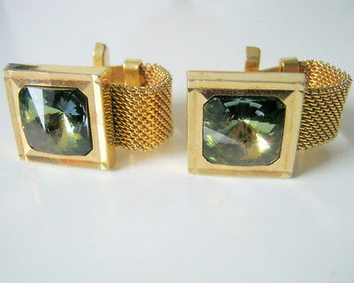 Gold Tone Green Glass Square Art Deco Wrap Around Vintage Cufflinks