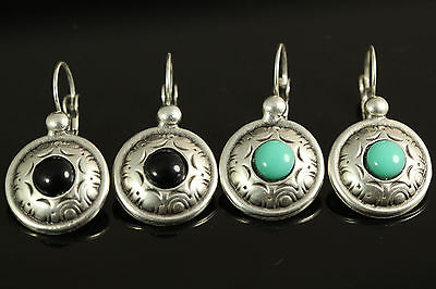 Close Out Lot Of 2 Pairs Turkish Silver Earrings Onyx Turquoise