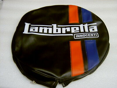 """Lambretta Spare Wheel Cover,black With Red And Blue Stripes """"free Postage"""""""