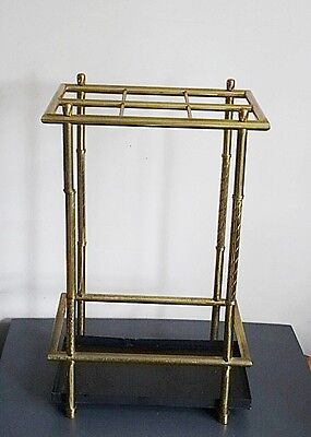 Vintage Brass Umbrella Stand with Drip Pan and Individual Spaces Cane Stand