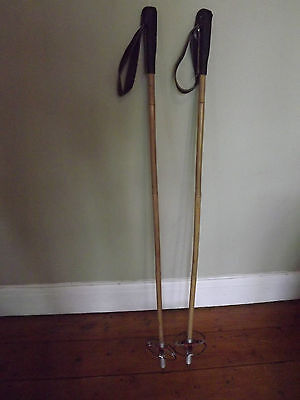 Vintage ski poles 1950's - 1960's bamboo and leather pair