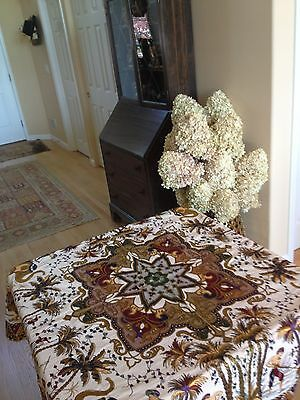 Antique  Islamic Beautiful Silk Ornamental Medalion,hunting Scene Tablecloth