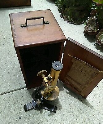 Very Rare E.H. & F.H. Tighe Opticians Brass Antique Microscope Vintage 1800's