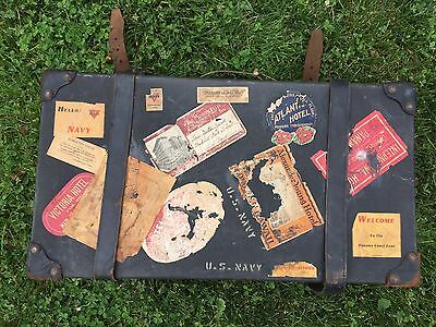 US Navy Military Suitcase Luggage w/ Decals Stickers Leather Old Antique Vintage