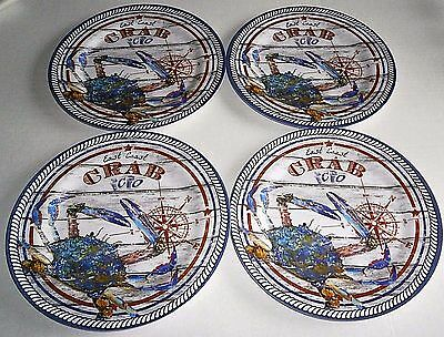 "EAST COAST CRAB CO. DINNER PLATES  10"" Diameter  Set of 4"
