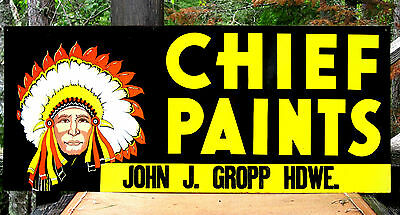 Vintage Doubled Sided Metal Chief Paints Sign Hardware Store W/2 Different Sides