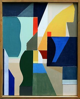abstract contemporary art deco cubist modern original acrylic painting