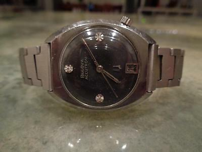 Vintage Bulova Accutron 2181 N4 Rare Black Dial Genuine Diamonds Heavy VTG Band
