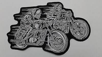 "1 pc  TWIN GHOST RIDERS BIKER EMB PATCH 11-3/4""x8"" SEW-ON"