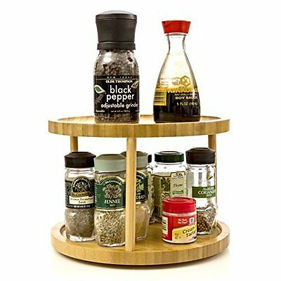 Bamboo Turning Shelf 2 Tier Cabinet Counter Spice Holder Organizer Kitchen Rack