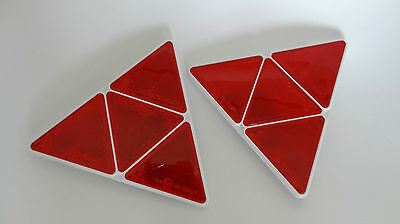 2pcs Triangular Red Reflector Screw fit Rear Triangle Pair for trailers caravans
