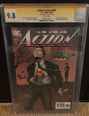 Action Comics  #870 9.8 Cgc Ss Signed By Gary Frank Death Of Jonathan Kent