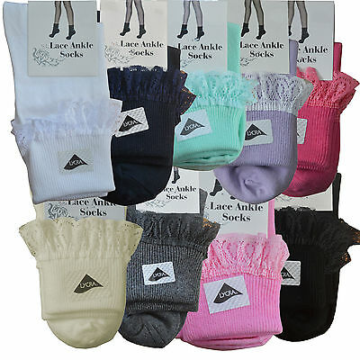 Girls Kids Teens Frilly Lace Edge Ankle Socks Ribbed School Stretch Short Cotton