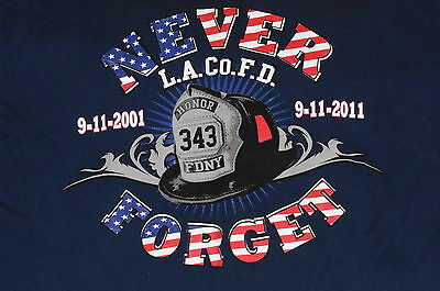 """LA Co Fire Department –Never Forget 911"" T-Shirt Firefighter Item –2XL"