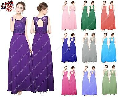 New Long Chiffon Lace Top Formal Evening Party Prom Bridesmaid Dresses UK 8 - 24
