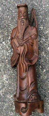 Finely Carved Wood  ....vintage Chinese Warrior/ Old Man  Statue/sculpture
