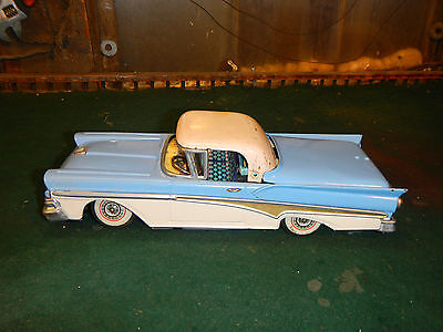 1958 Nomura TN Japan Retractable Ford Skyliner FRICTION Tin Toy Vintage