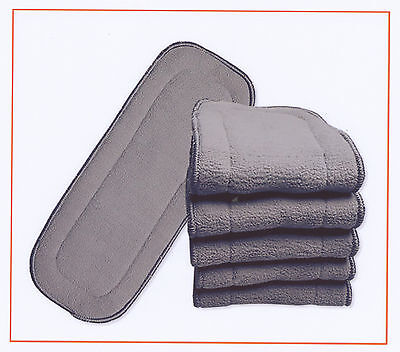 20x Nappy Inserts For MCN New 5 Layers Bamboo Washable Reusable Charcoal 11*27cm