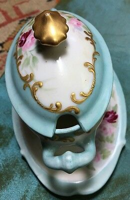 Antique Mini (Doll House ) French Casserole Covered Dish hand painted Gold knob