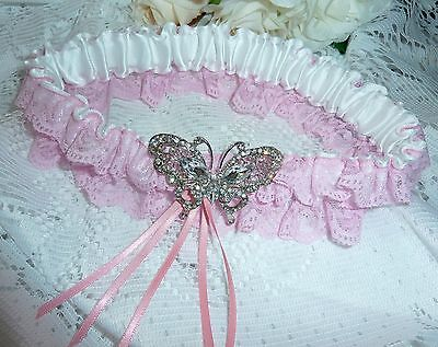 WEDDING GARTER pink satin and white lace crystal butterfly vintage bride gift