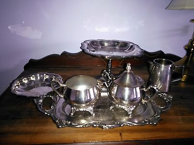 Vintage Silver Plated Lot - Creamer, Sugar, Serving Pieces