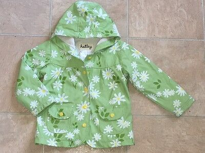EUC Girls Hatley Rain Coat Jacket Daisy 2T Waterproof Lined 24m 2
