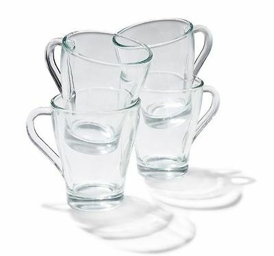 Glass Mugs Set of 4 With Handle - Coffee / Tea Stylish Beverage / Latte Glasses