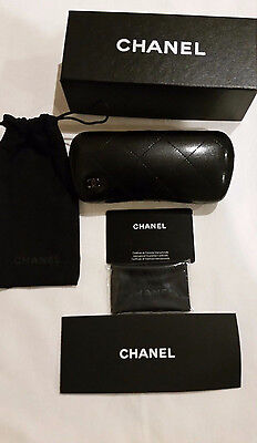 Chanel Authentic Leather Quilted Eye Glasses Hard and Soft Case Set NEW