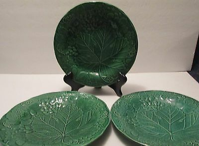 "Three Vintage Wedgwood Burslem Green Majolica Vine Leaf Pattern  9"" Dia. Plates"