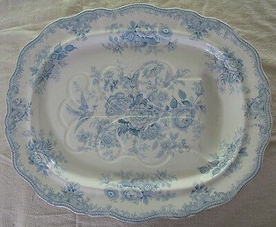 """Antique 1855 BH&Co Transferware Asiatic Pheasants Meat Platter Tray w Well 21"""""""