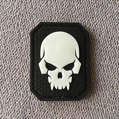 3D PVC RUBBER SKULL HEAD Tactical Morale Hook Patch Glowing Reflect Badge Black