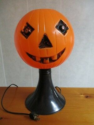 "Vintage 13"" Bayshore JOL Pumpkin on Pedestal Base Blow Mold Light Halloween Rare"