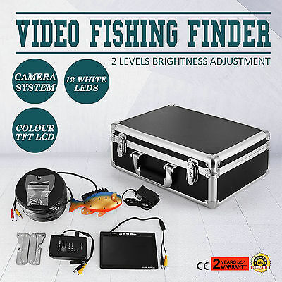 """60m 7"""" LCD Fish Finder Screen Underwater Fishing Video Camera Stable Black DVR"""