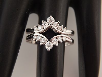 14K WG Diamond 2 Band Wrap Round or Marquise Solitaire .75 tcw E/VS Ring Guard