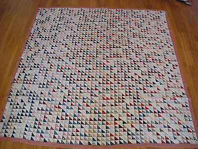 "ANTIQUE c1870 FLYING GEESE HAND SEWN QUILT  77"" x 79""  ~ NICE"