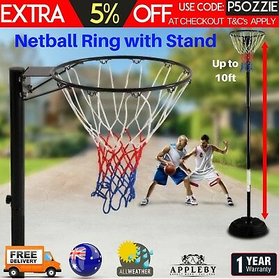 Netball Ring Hoop Steel Stand Base Portable Adjustable Height10ft Regulation